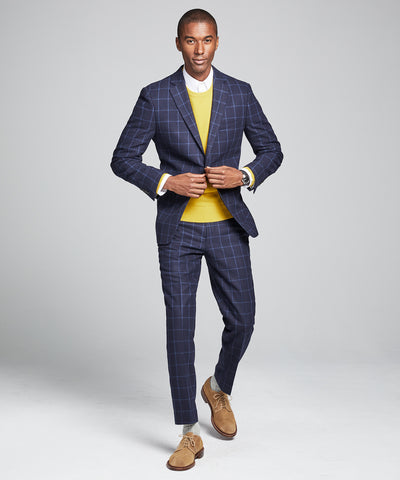 Wool Windowpane Sutton Suit Jacket in Navy