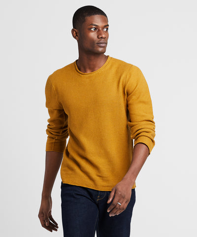 Inis Meain Mock Neck Linen Sweater In Mustard