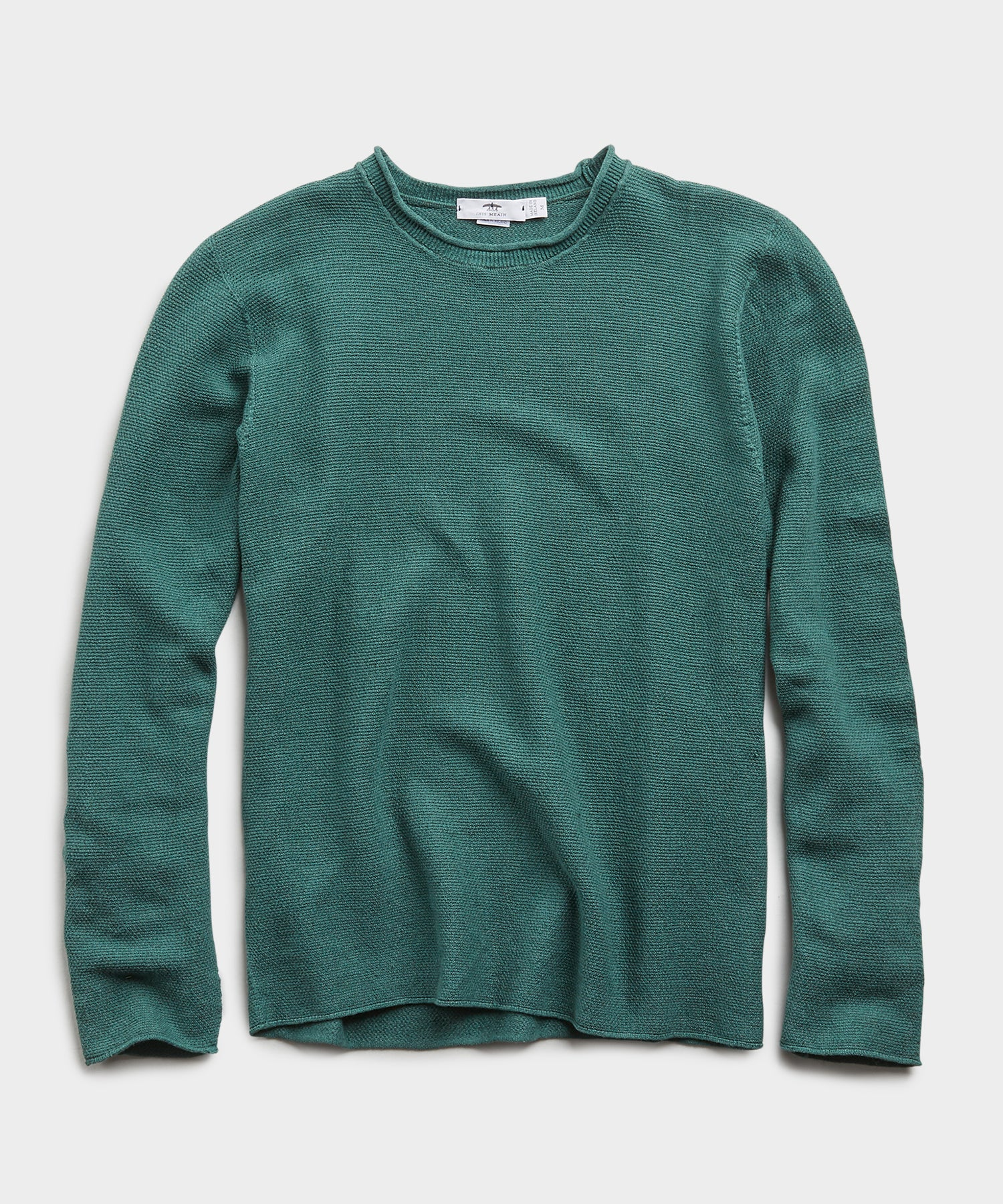 Inis Meain Mock Neck Linen Sweater in Emerald