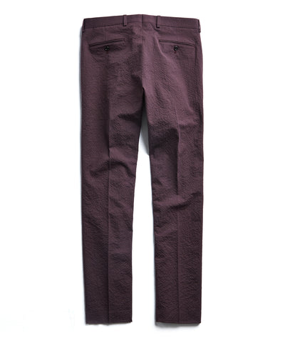 Seersucker Tab Trouser in Burgundy