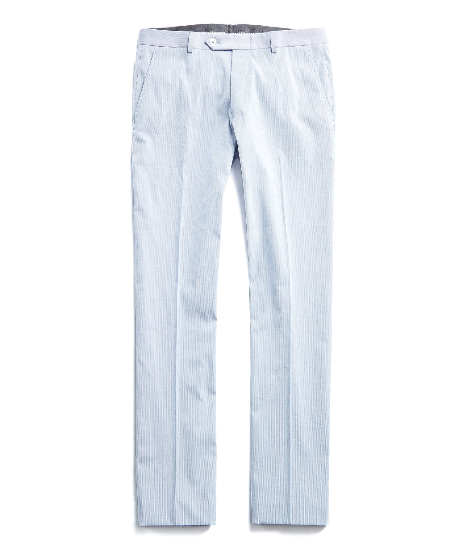 Fine Corded Cotton Stripe Sutton Suit Pant in Blue