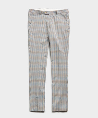 Blue Beige Check Tab Dress Trouser