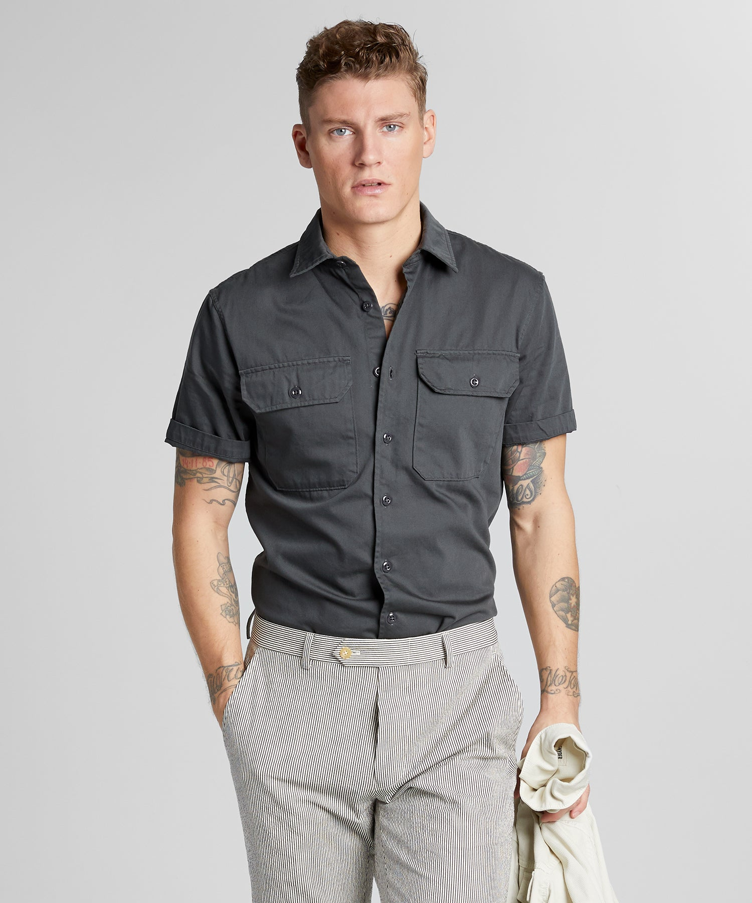 Italian Two Pocket Utility Short Sleeve Shirt in Slate