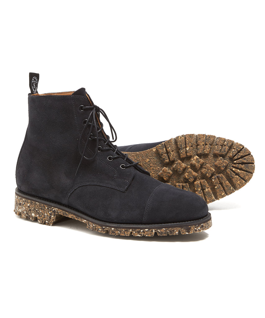 Sanders Lace Up Cap Toe Boot In Anthracite Suede