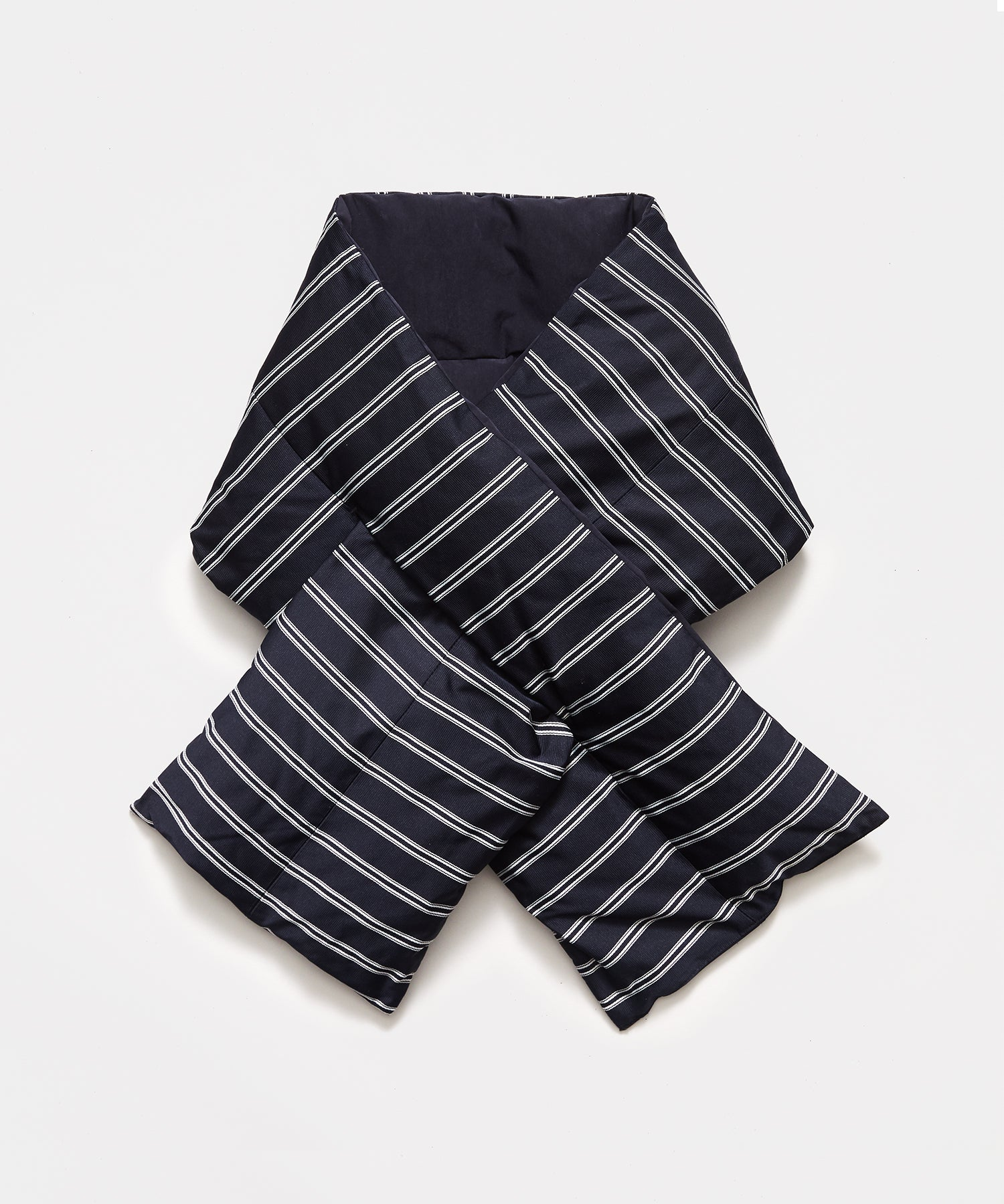 Nanamica Striped Down Muffler in Navy