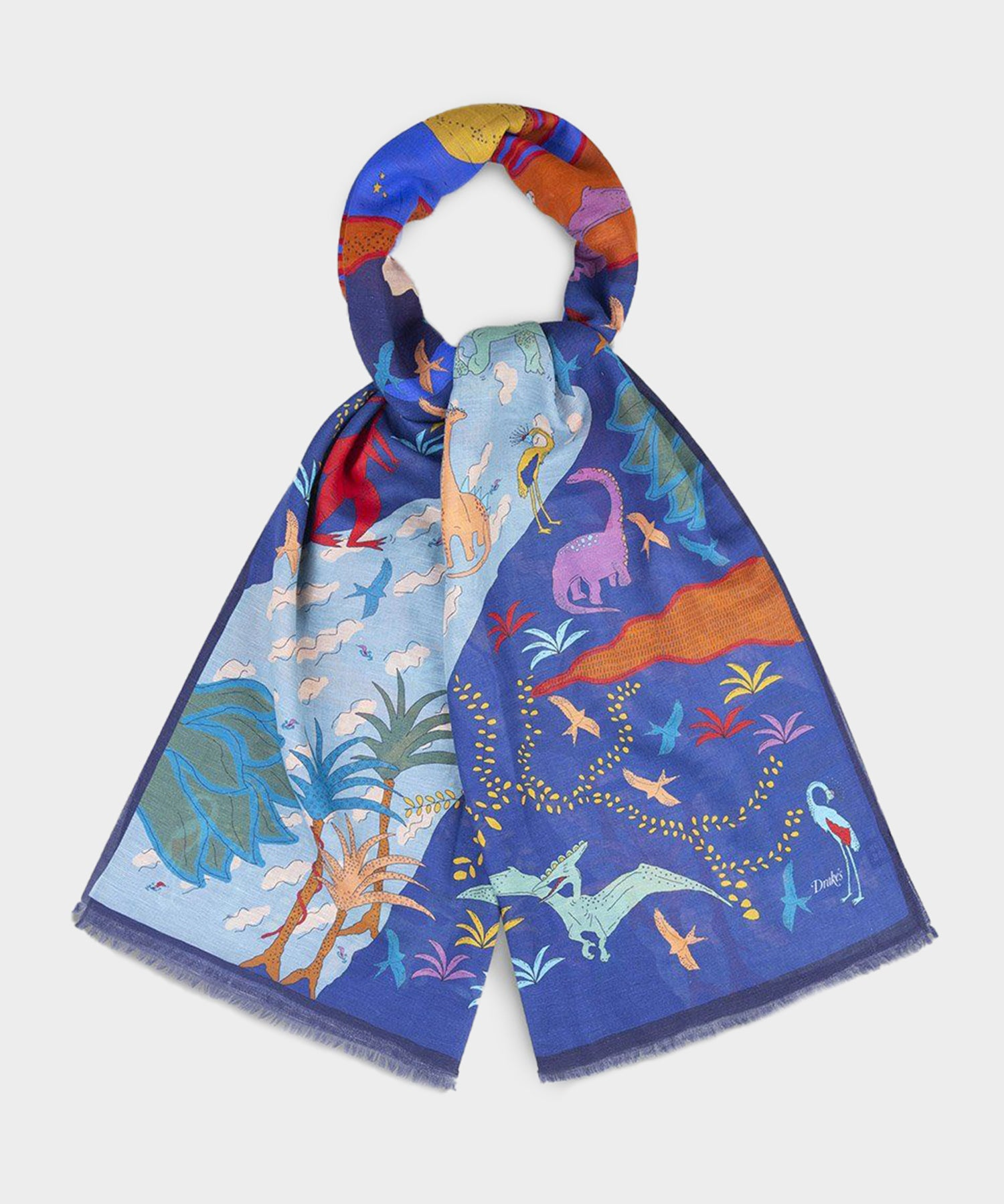 Drake's Navy And Blue Prehistoric Printed Cotton-Linen Scarf
