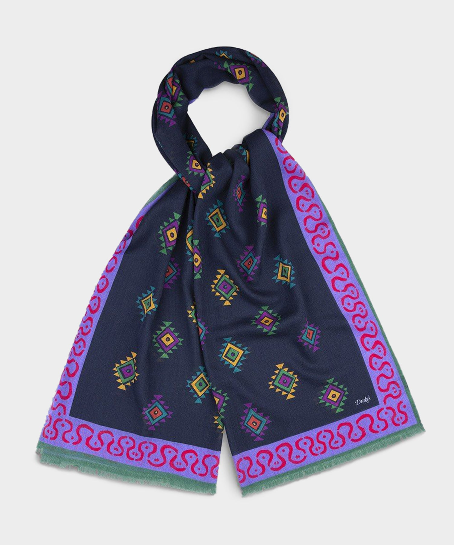 Drake's Navy and Purple Border Diamond Printed Wool Scarf