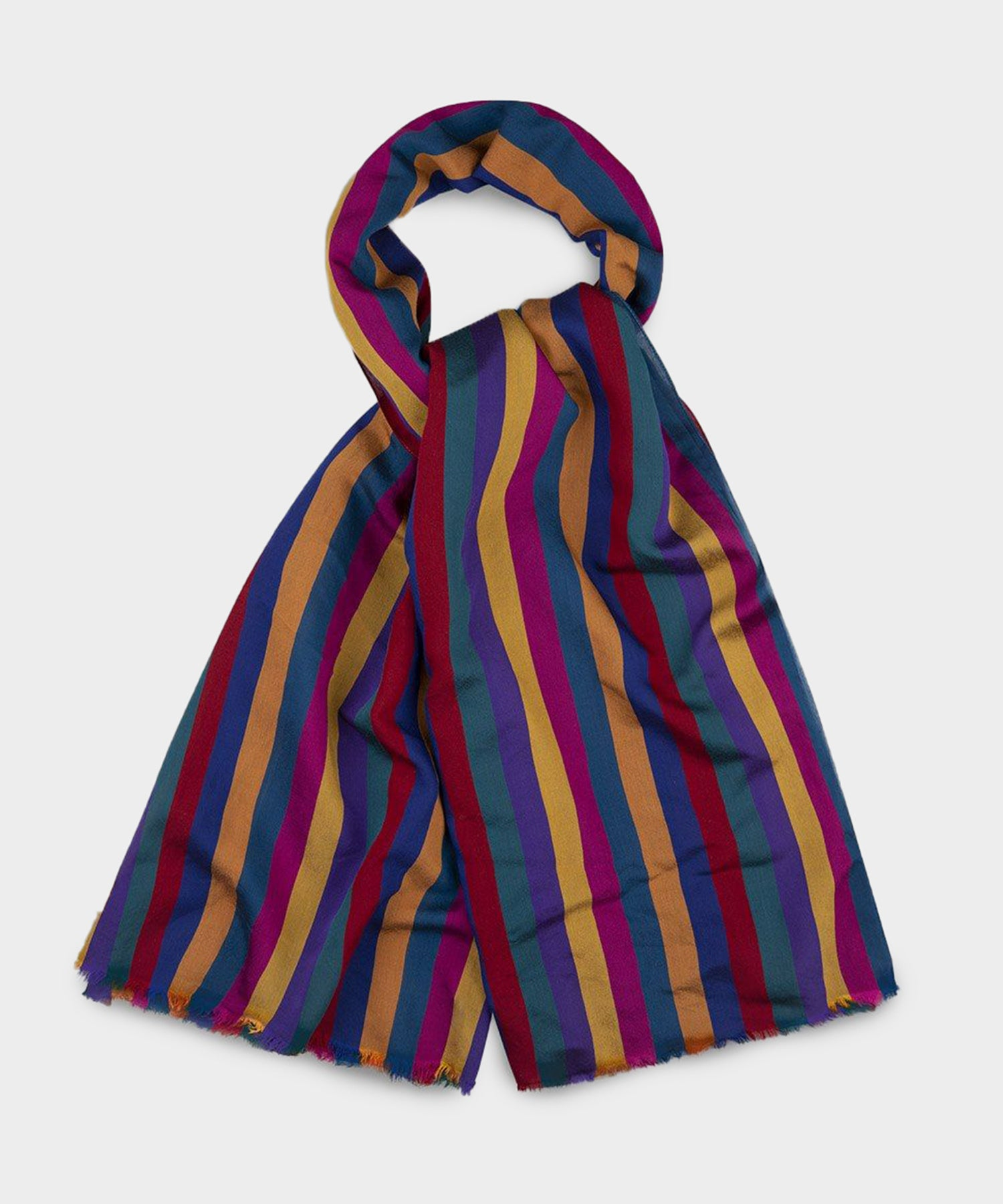 Drake's Multi-Color Broad Stripe Viscose-Silk Scarf
