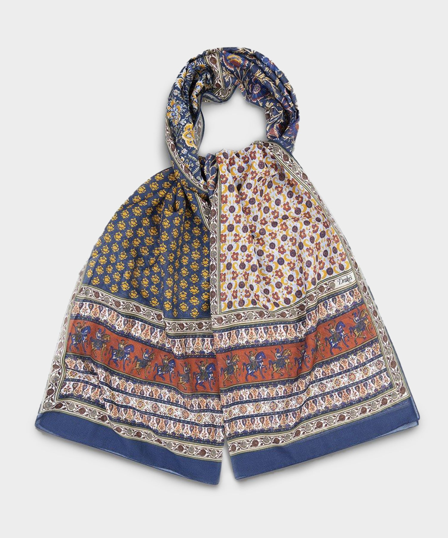 Drake's Ecru and Terracotta Patchwork Mughal Rider Print Cotton-Linen Scarf