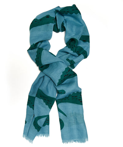 Drake's Blue and Green Crocodile Print Scarf