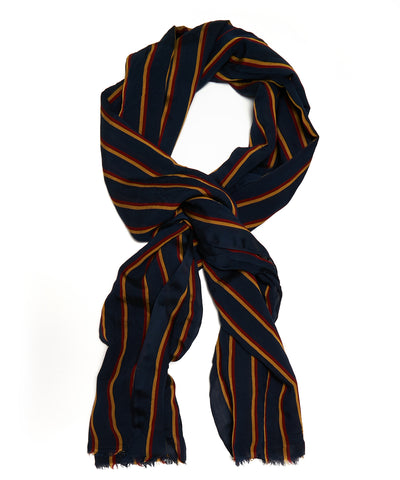 Drakes Crinkle Stripe Scarf in Navy