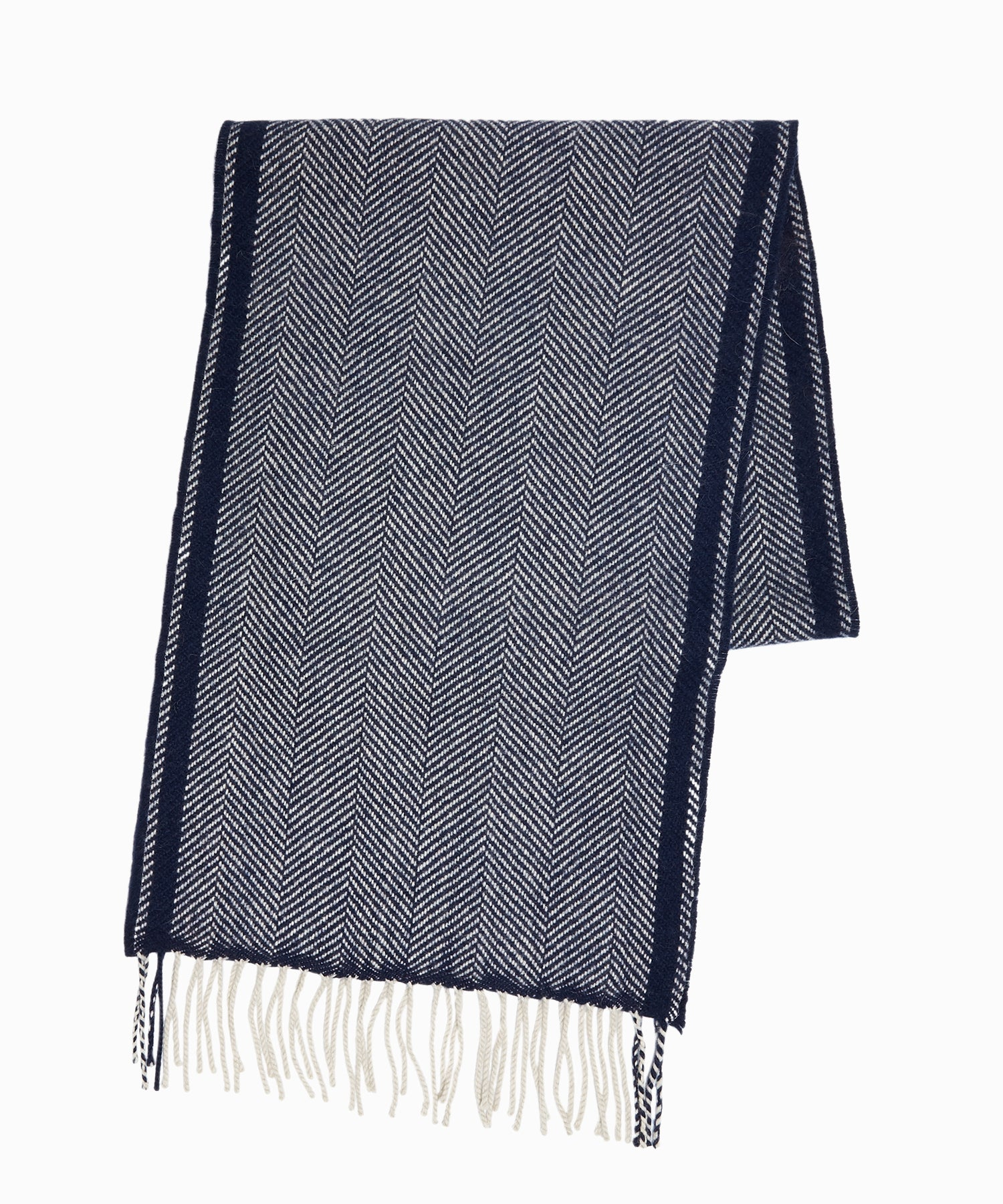 Drake's Lambswool Herringbone Scarf in Navy