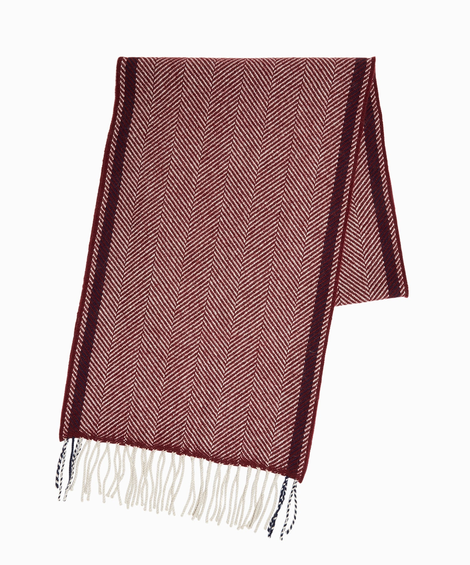 Drake's Lambswool Herringbone Scarf in Wine
