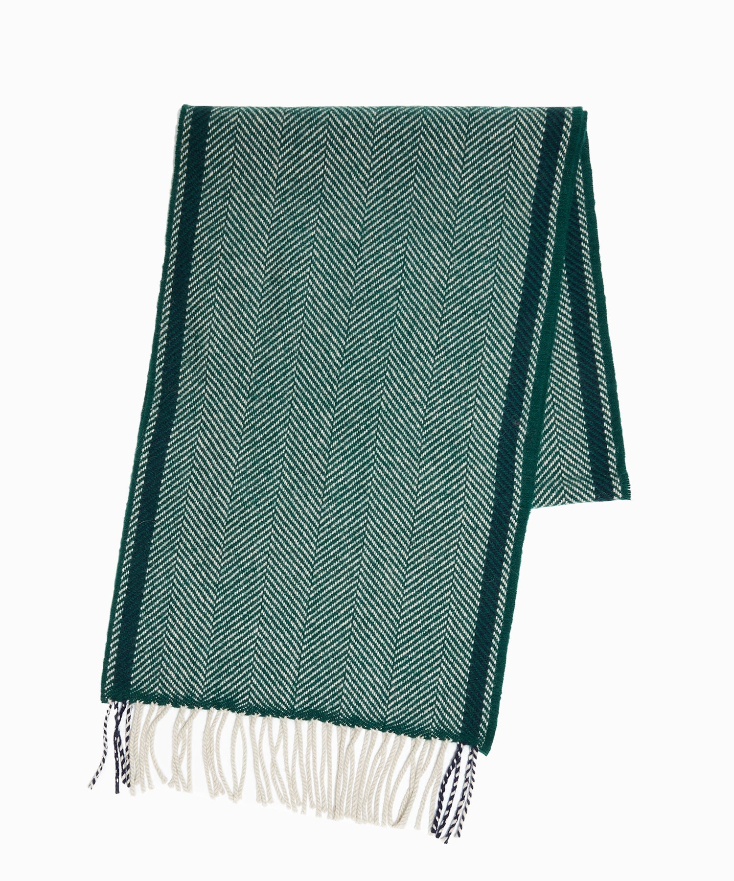 Drake's Lambswool Herringbone Scarf in Green