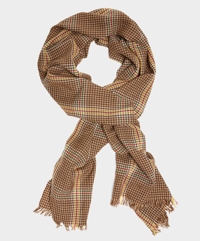Drake's Crinkle Merino Scarf in Brown Check