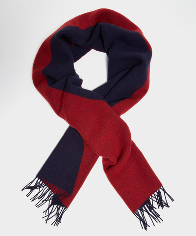 Drake's Geometric Jacquard Scarf in Red