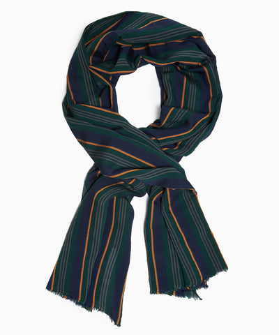 Drake's Lightweight Regimental Stripe Crinkle Scarf in Navy