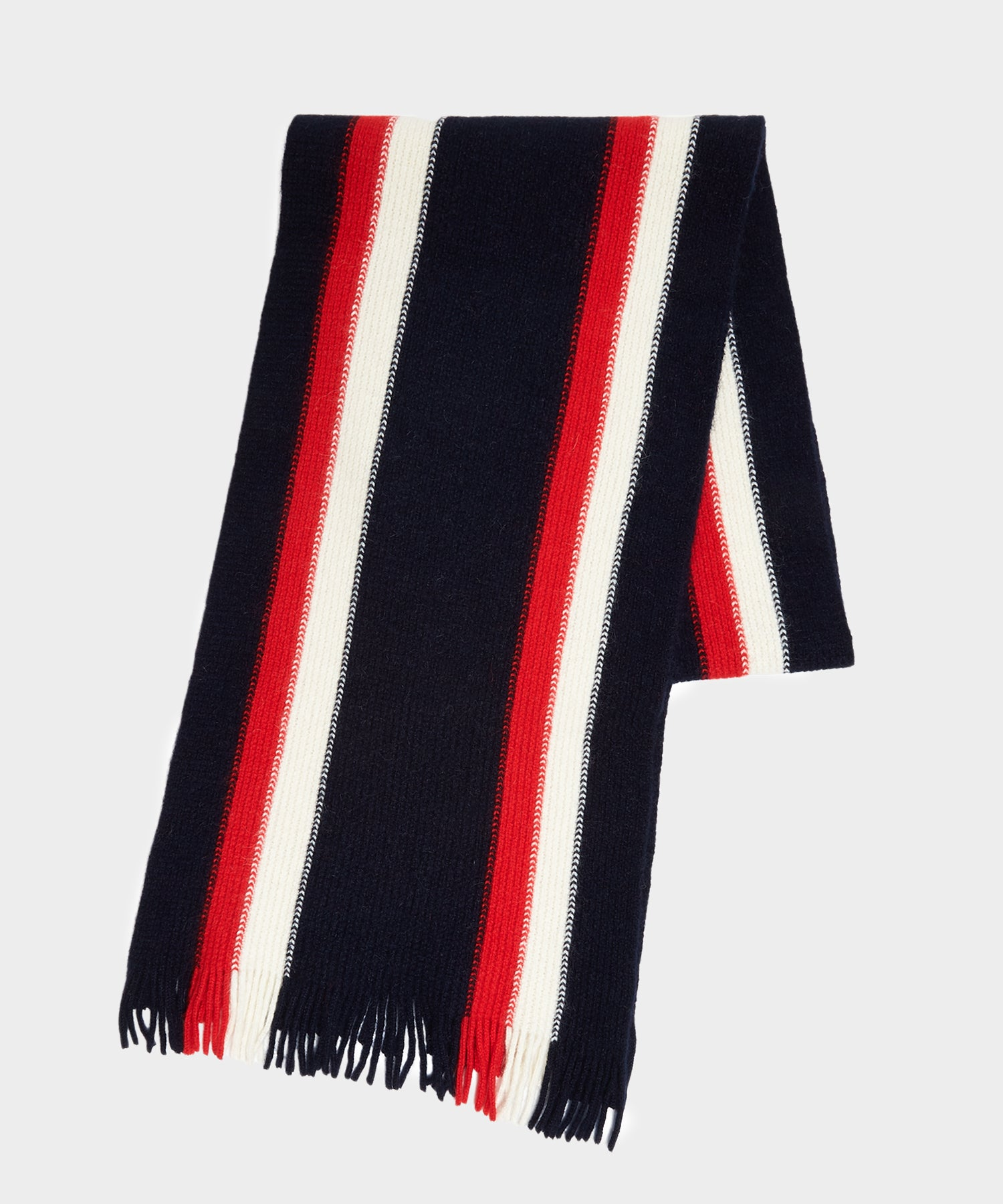 Drake's Collegiate Striped Scarf in Navy