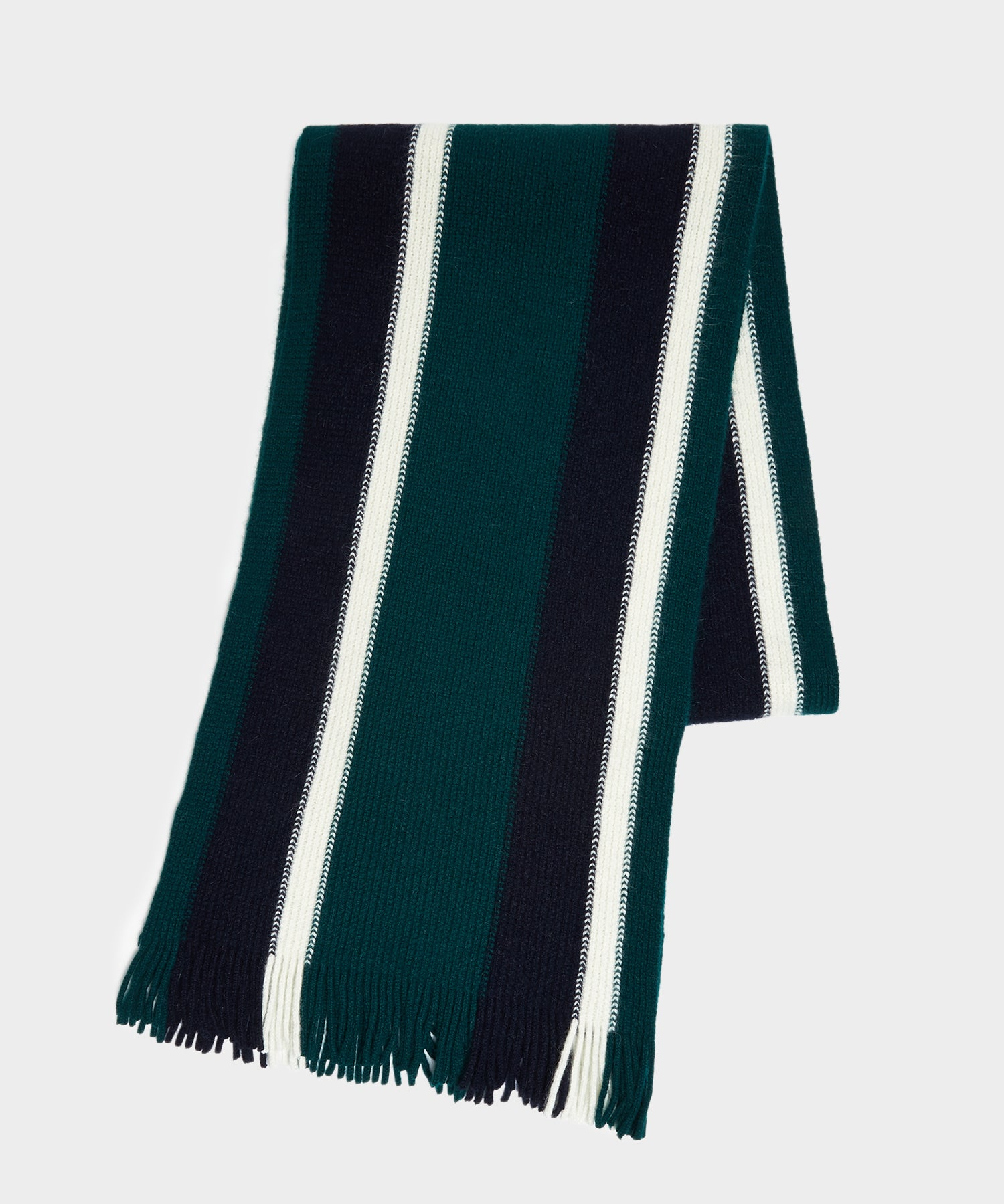 Drake's Collegiate Striped Scarf in Green