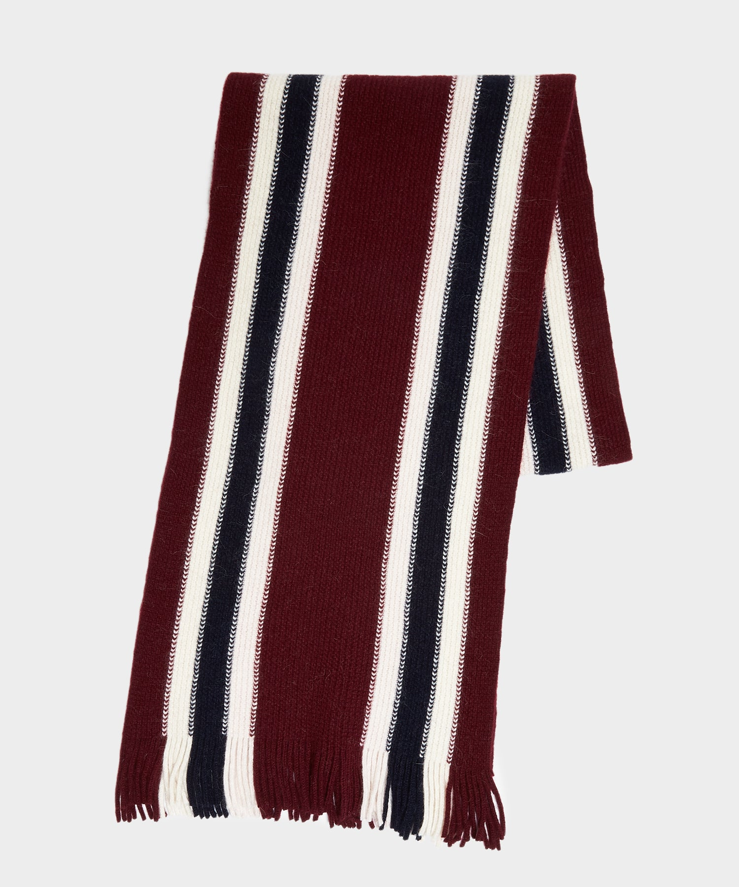 Drake's Collegiate Striped Scarf in Burgundy