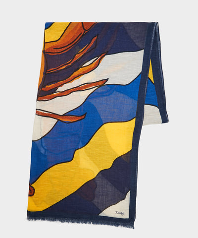 Drake's Lobster Scarf in Ecru/Navy/Orange