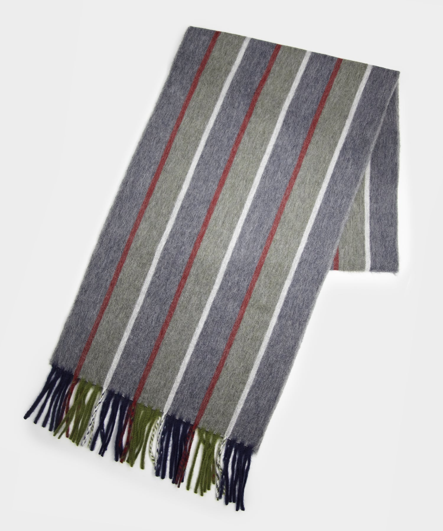 Drake's Regimental Stripe Scarf in Grey