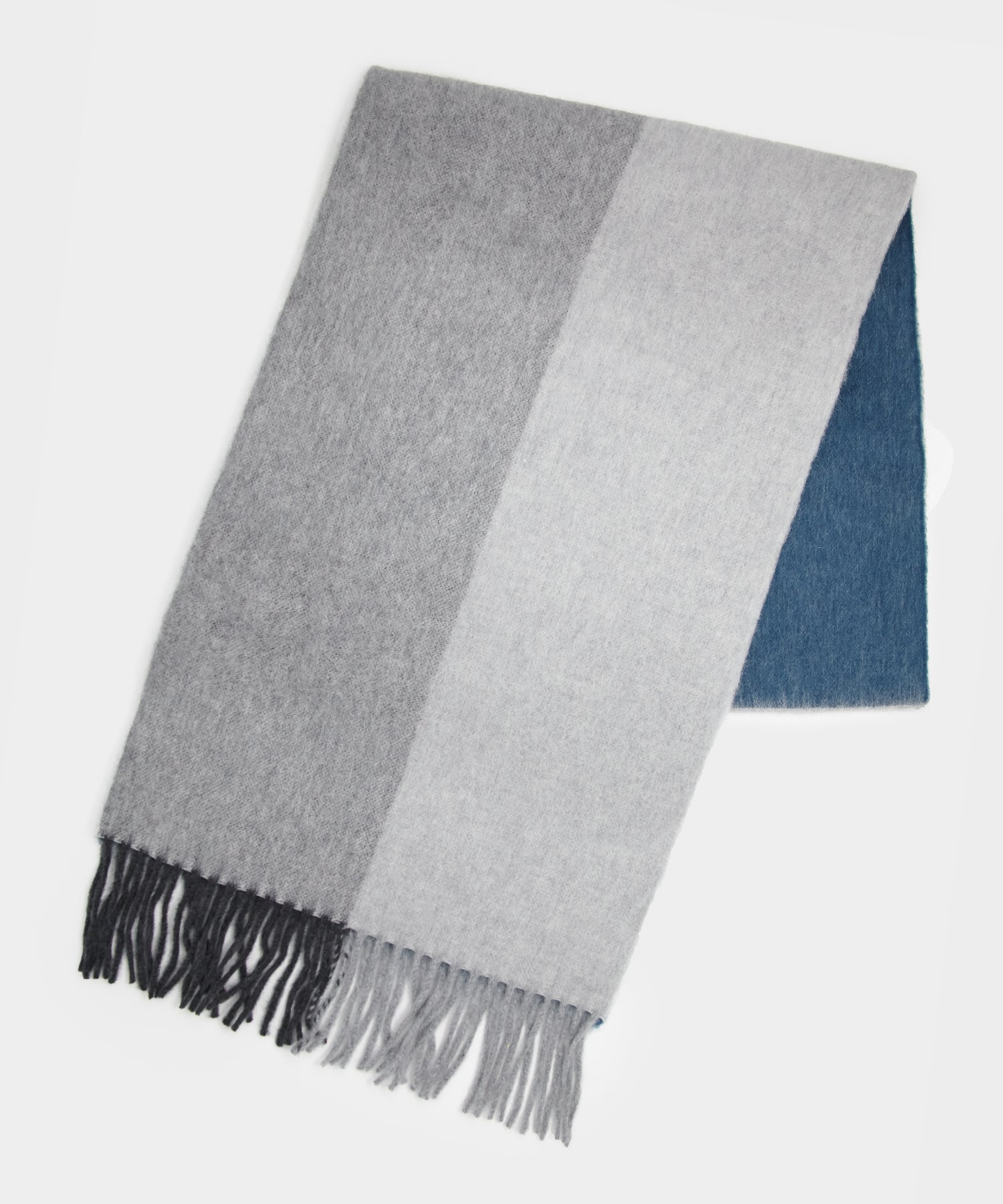 Drake's Block Check Scarf in Grey/Navy