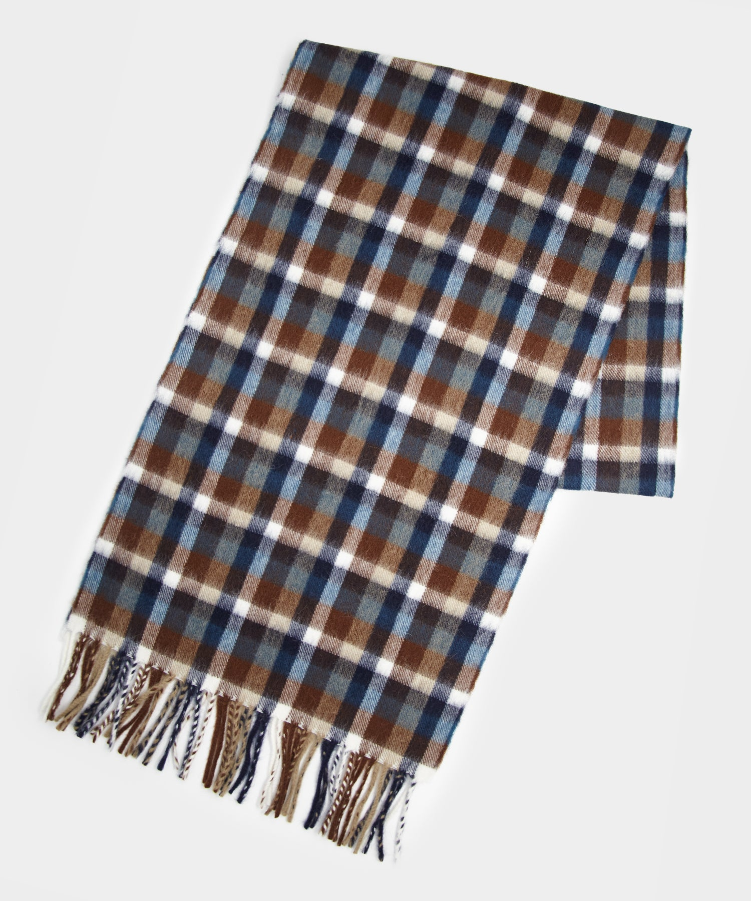 Drake's Small Block Check Scarf in Brown