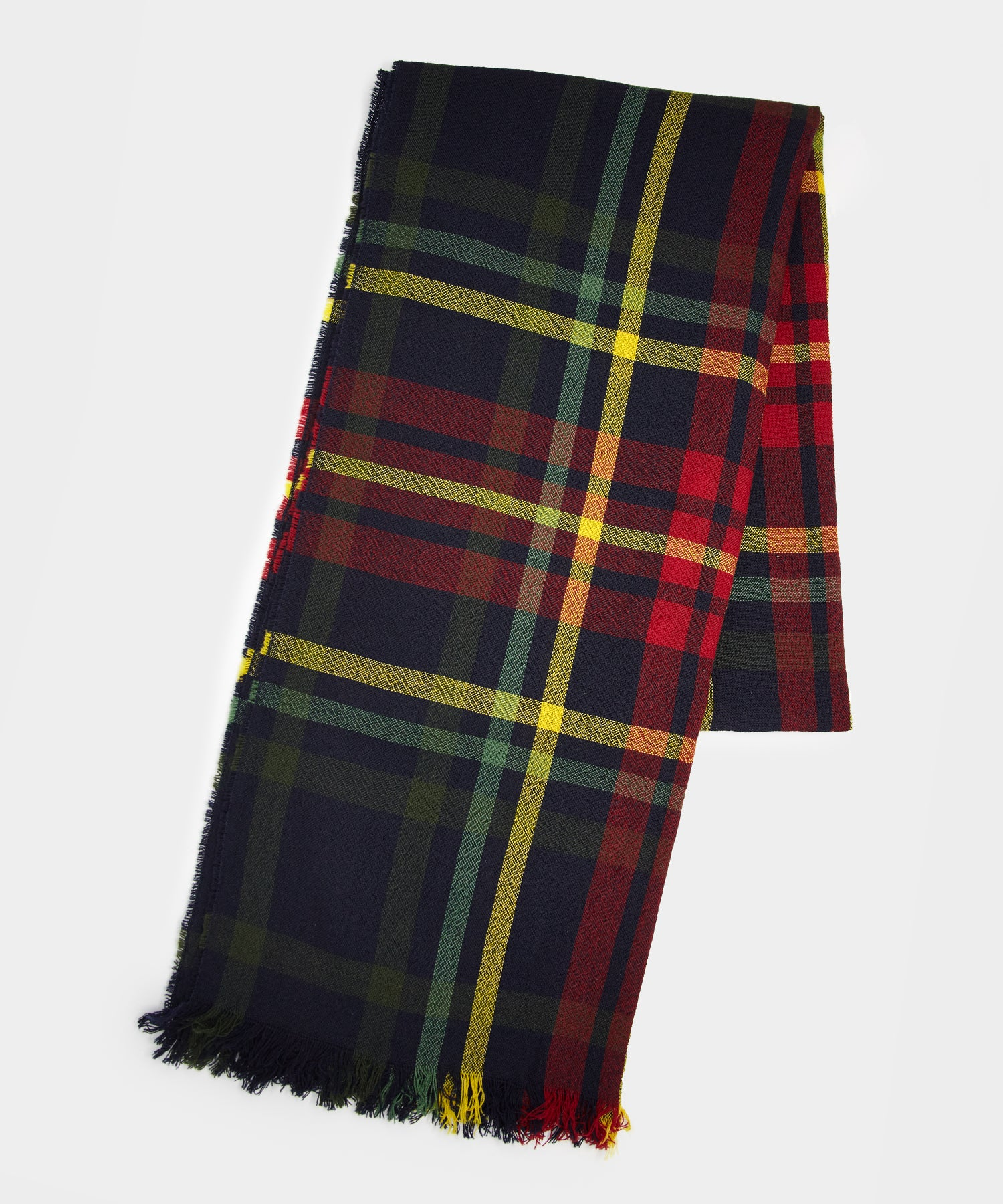 Drake's Merino Crinkle Scarf in Green/Red Plaid