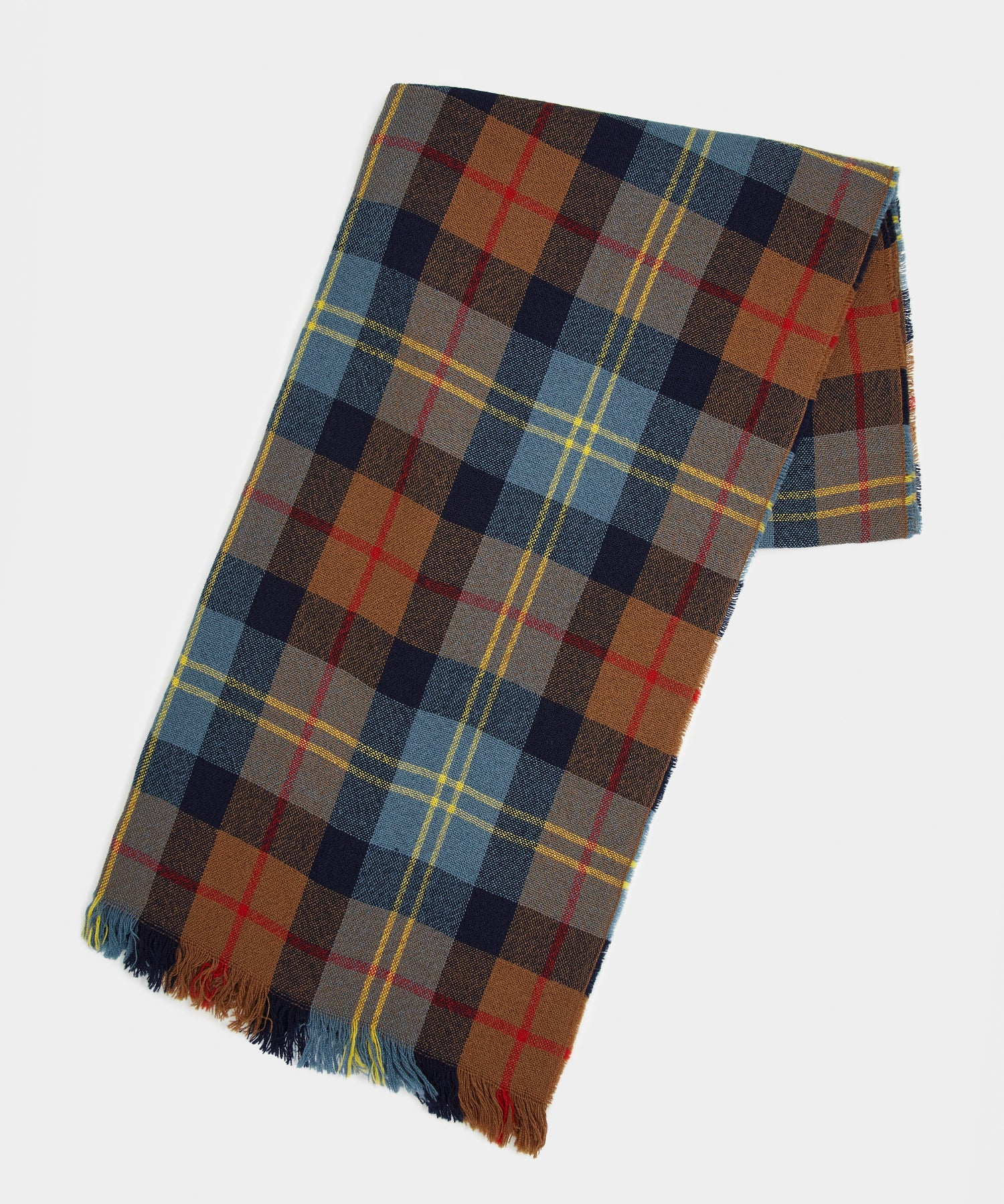 Drake's Merino Crinkle Scarf in Navy/Brown Plaid