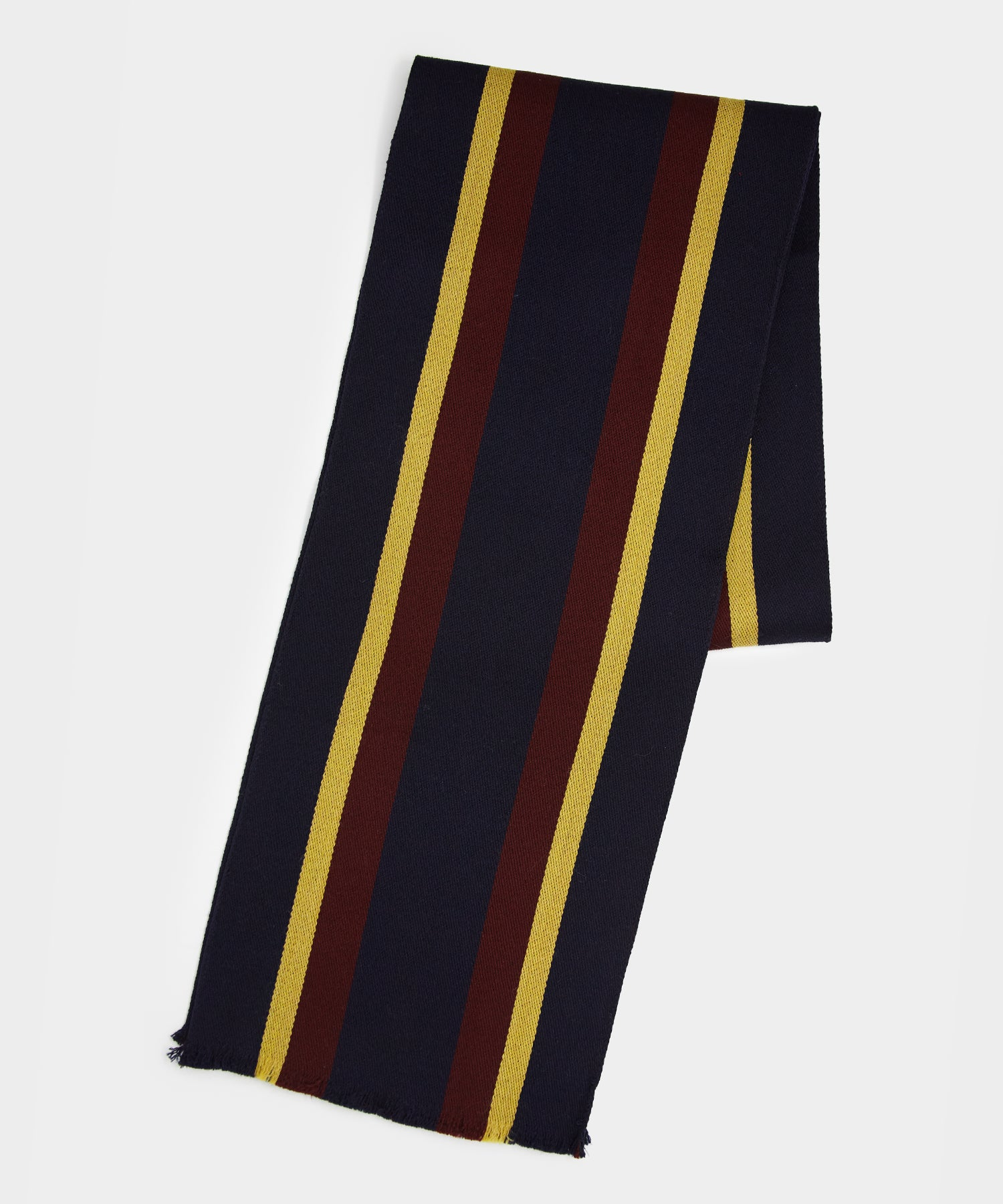 Drake's Regimental Stripe Scarf in Wine/green/navy