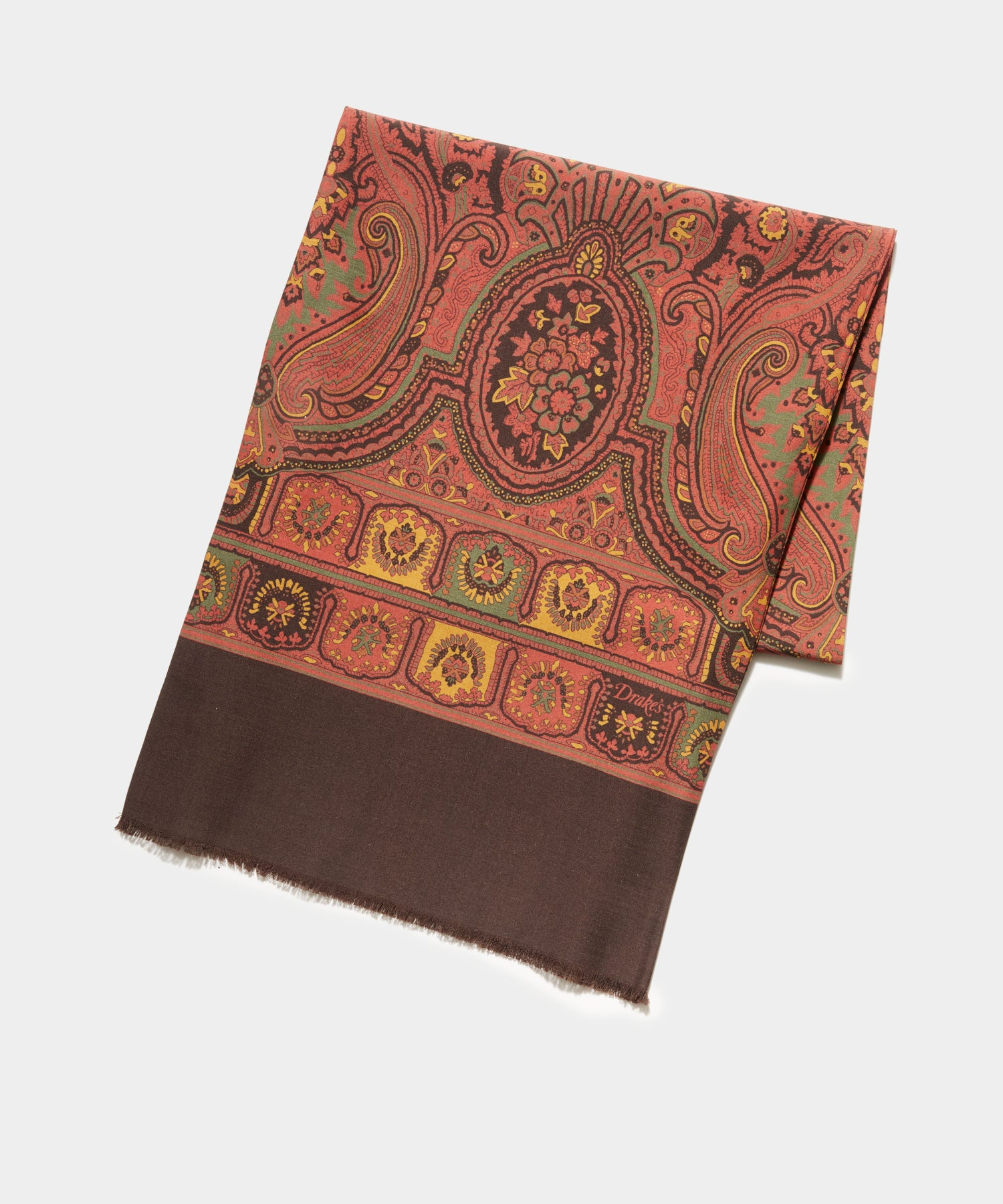 Drake's Vintage Medallion Scarf in Brown