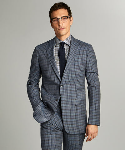 Sutton Wool Linen Suit Jacket in Grey Navy Check
