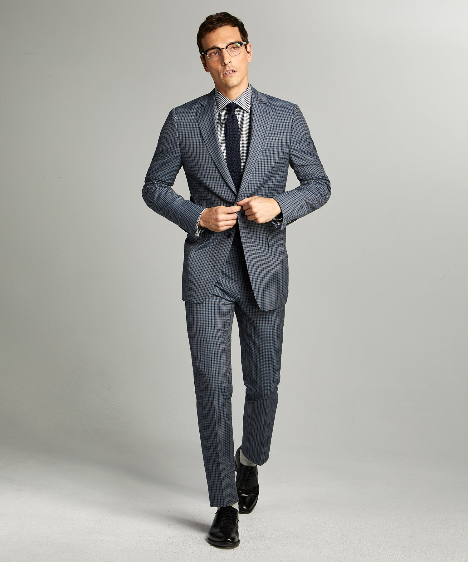 Sutton Wool Linen Suit in Grey Navy Check