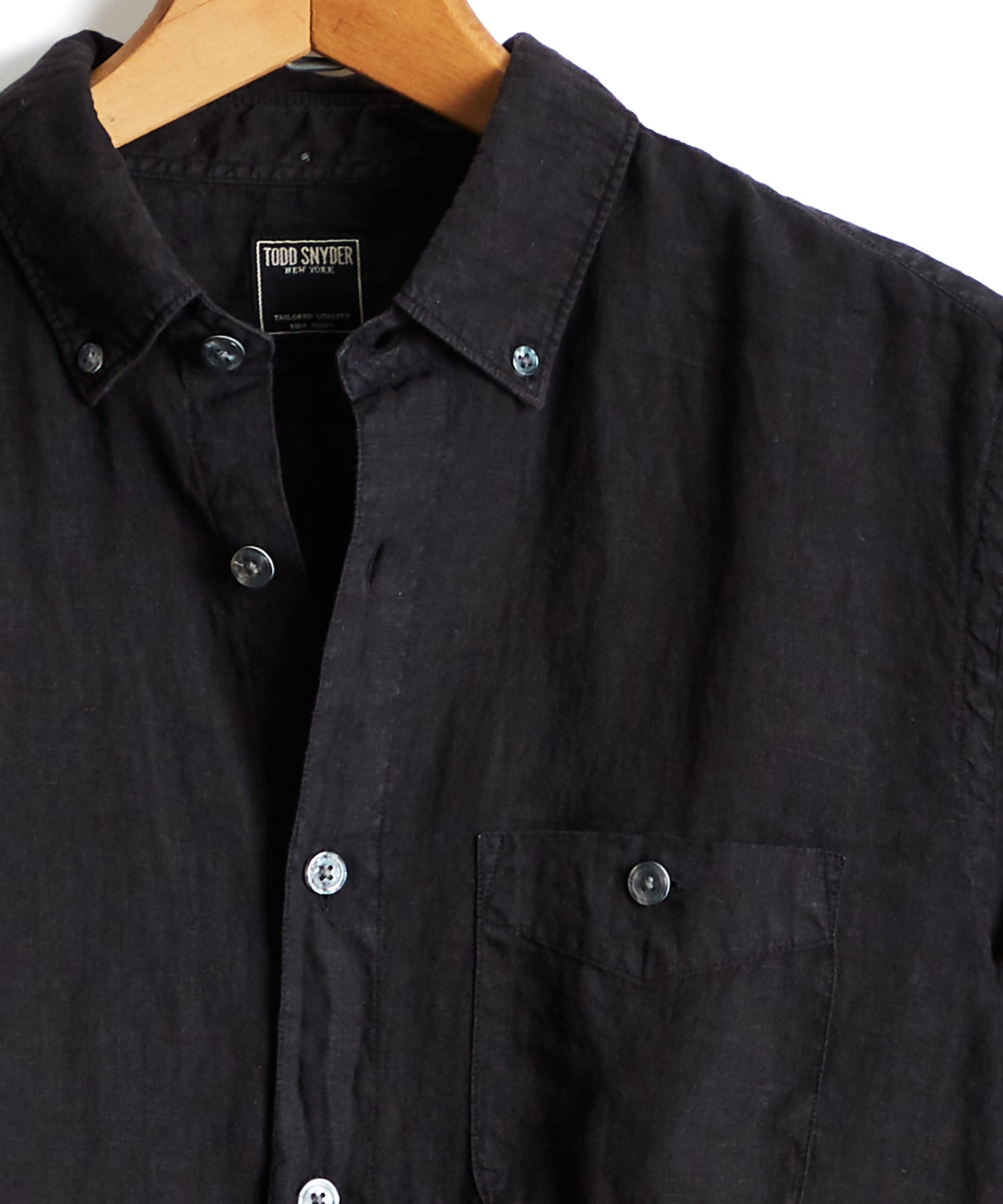 Button Down Linen Shirt in Black