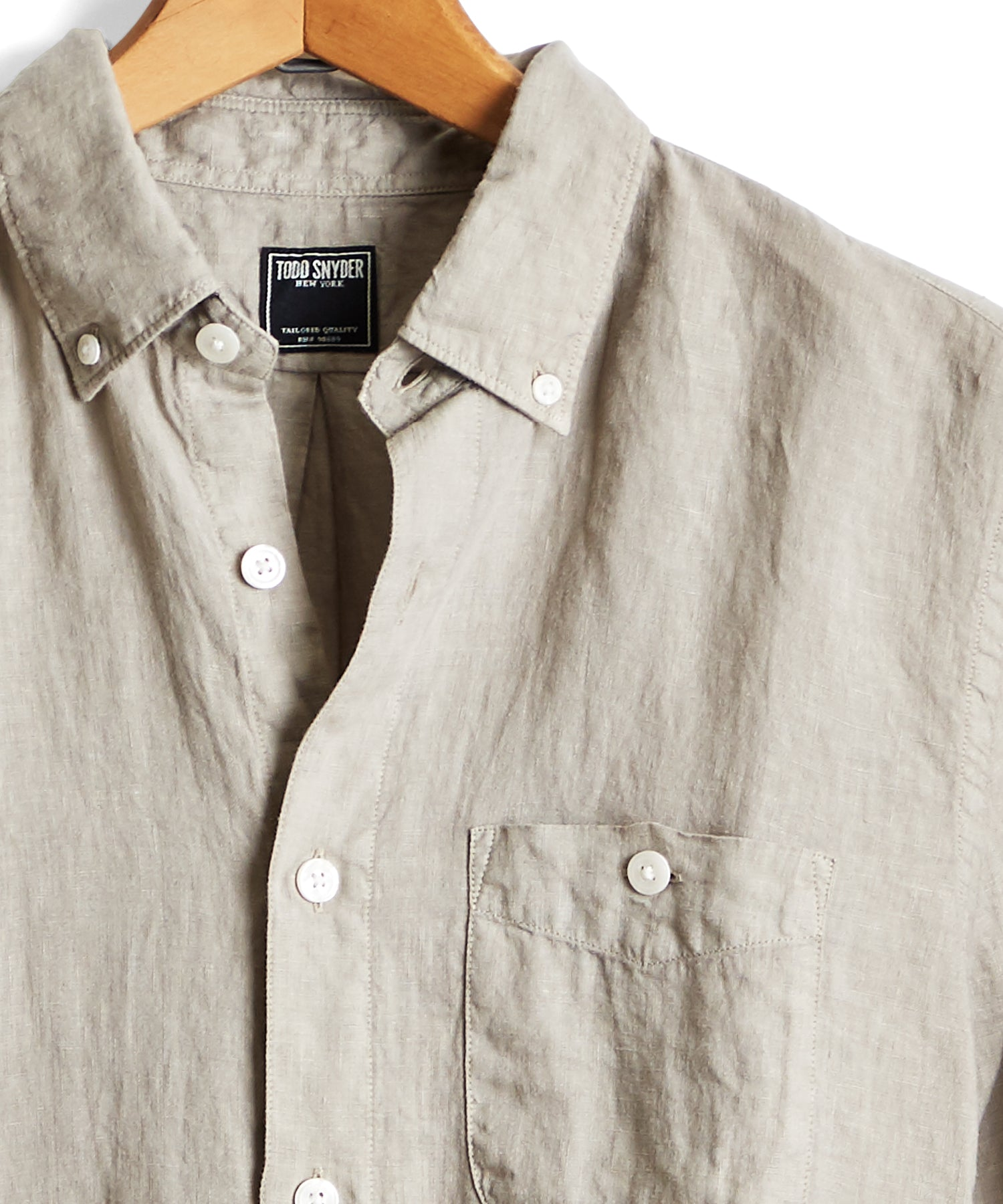 Button Down Linen Shirt in Almond