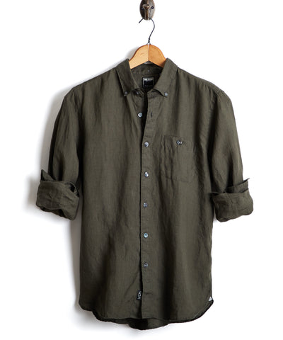 Slim Fit Linen Button Down Shirt in Olive