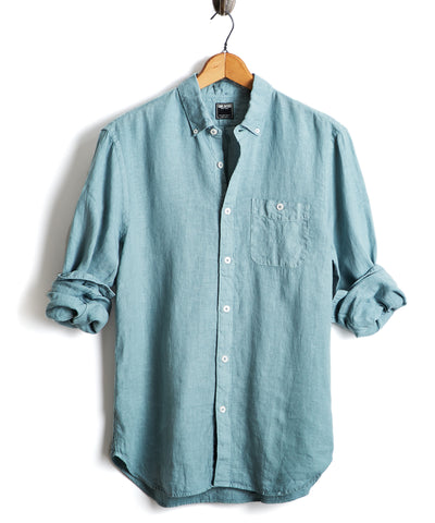 Slim Fit Linen Button Down Shirt in Spruce