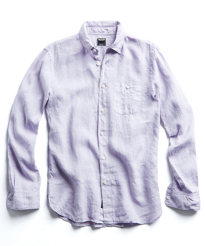 Button Down Linen Shirt in Lavender
