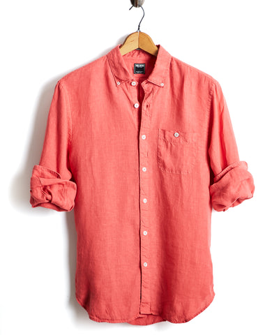 Slim Fit Linen Down Shirt in Nantucket Red