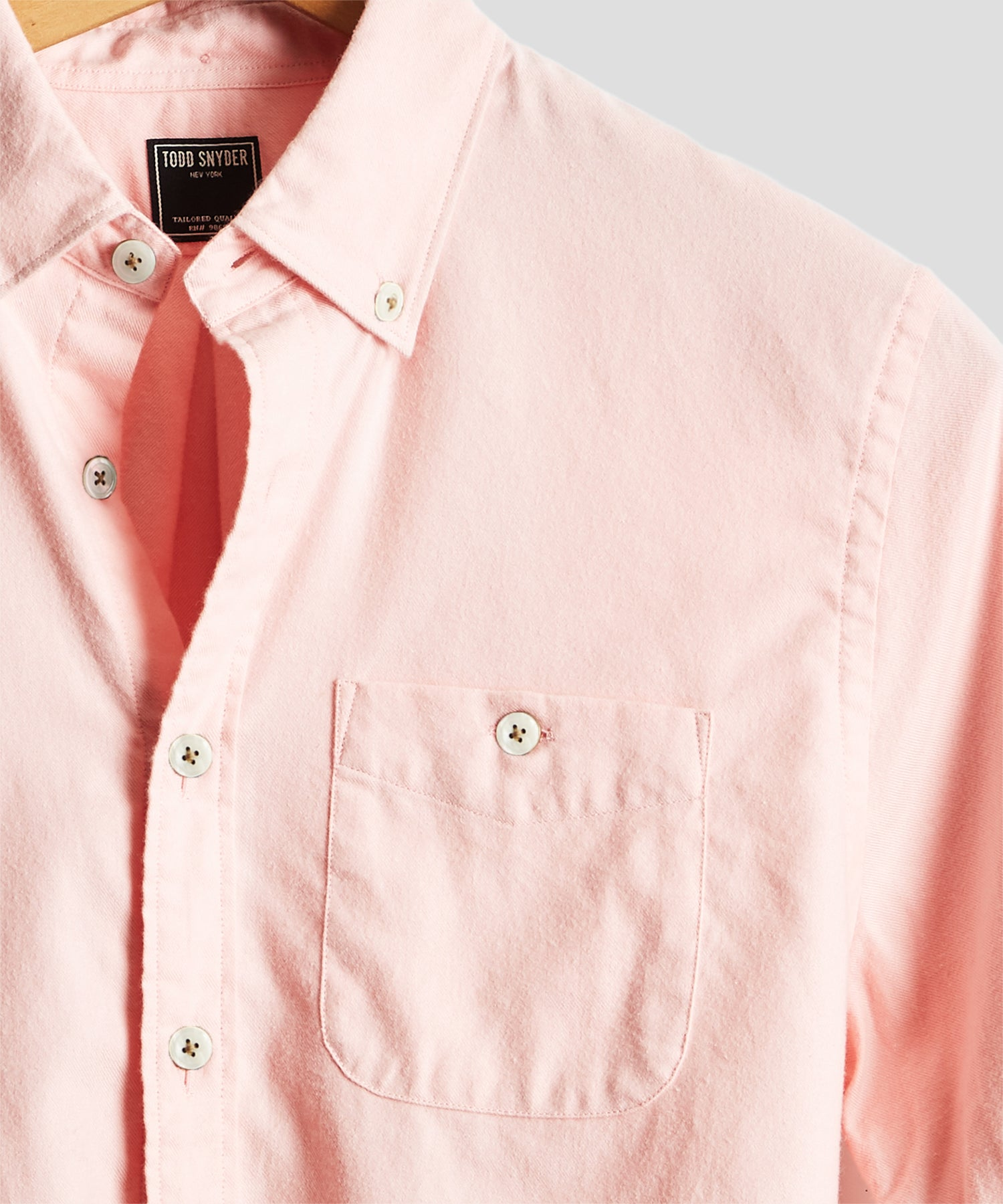 Brushed Cotton Cashmere Twill Shirt in Pink