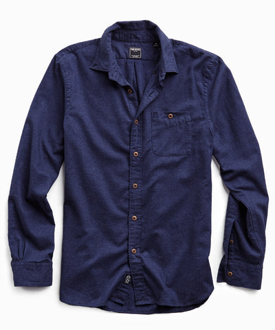 Brushed Cotton Cashmere Twill Shirt in Navy