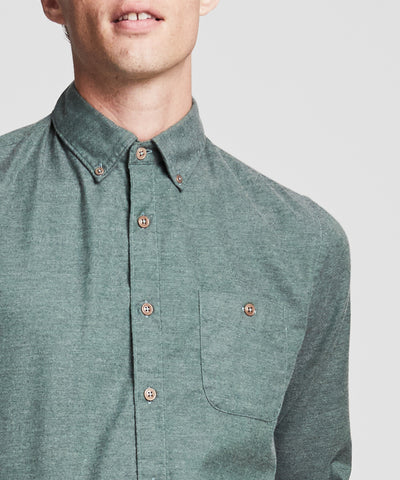 Brushed Cotton Cashmere Twill Shirt in Olive