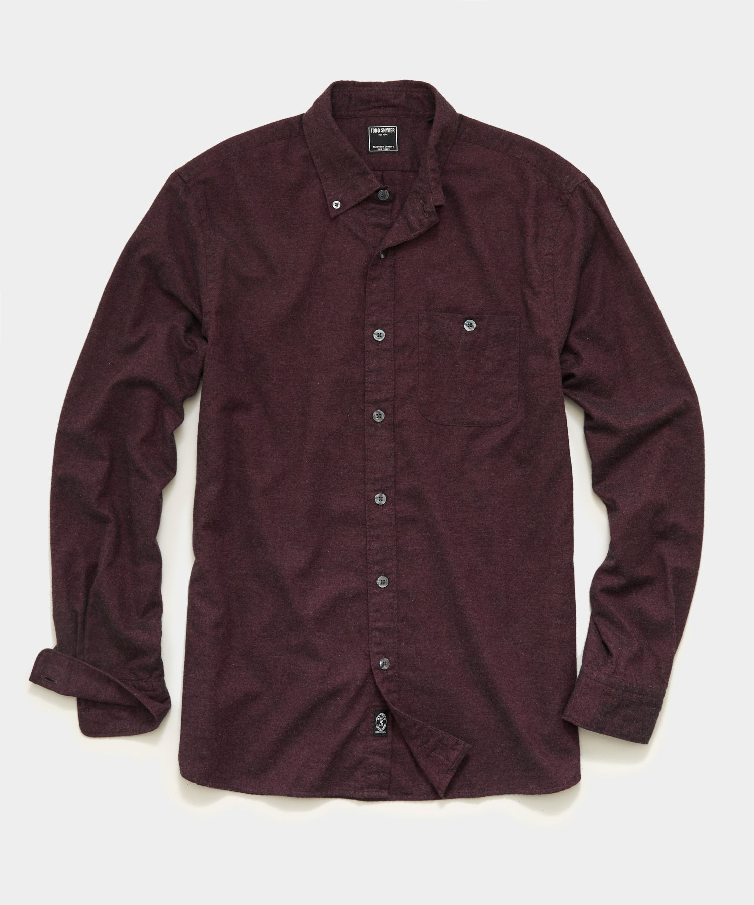 Brushed Cotton Cashmere Twill Shirt in Burgundy