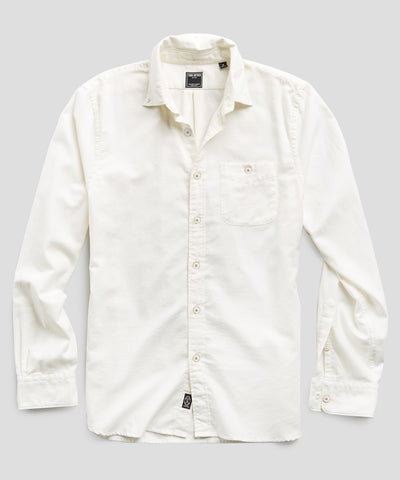 Brushed Cotton Cashmere Twill Shirt in Ivory
