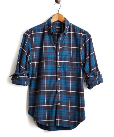 Button Down Flannel Shirt in Dark Teal Plaid