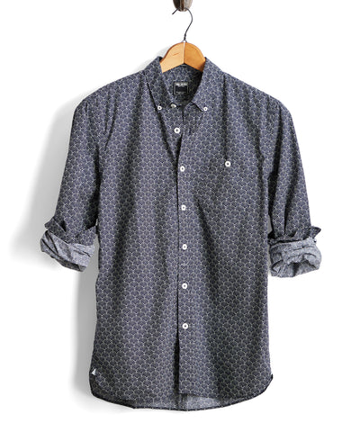 Liberty Geoprint Button Down Shirt in Navy