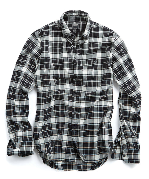Button Down Flannel Shirt in in Black and White Plaid