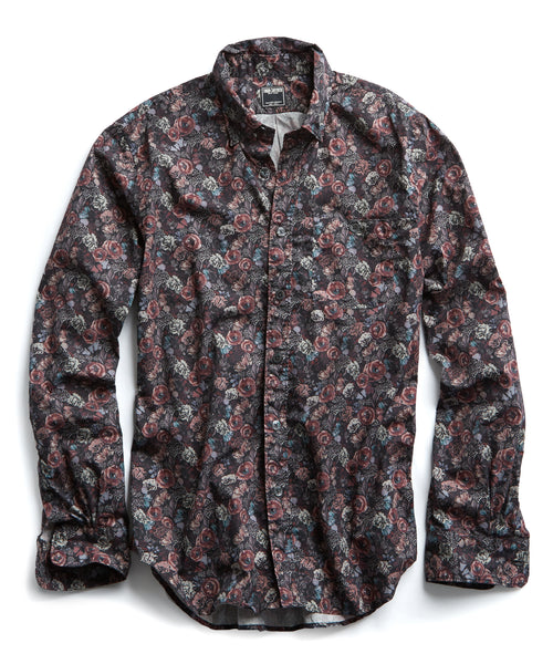 Thomas Mason Floral Shirt in Burgundy