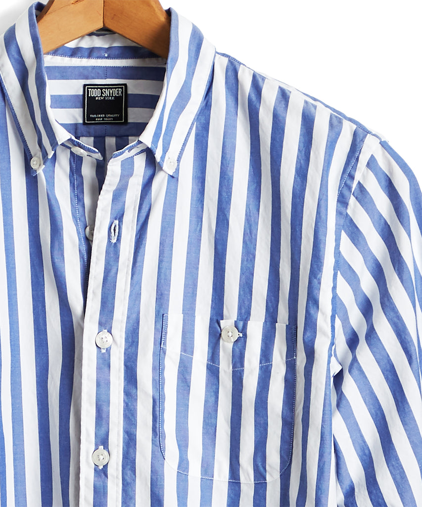 Stripe Oxford Button Down Shirt in Blue